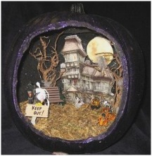 fall season diorama Awesome lighted pumpkin diorama