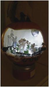 faux pumpkin diorama Fabulous How To Make a Spooky Halloween Pumpkin Diorama