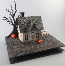 TH altered halloween house on book base