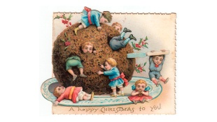 Children with large pudding on a Christmas card
