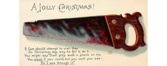 A saw on a Christmas card