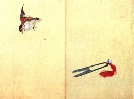Hokusai_Pair_of_sissors_and_sparrow