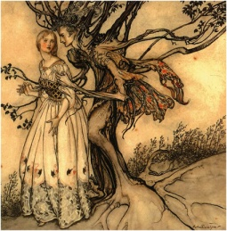 Arthur_Rackham_Brothers_Grimm_The_Old_Woman_in_the_Wood_1920