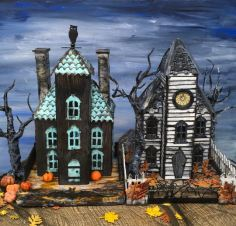 Ebonywood-Manor-and-Haunted-Schoolhouse-paper-houses-putz-houses
