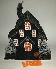 NEW-Lighted-GLITTER-Halloween-Putz-HAUNTED-HOUSE-Cardboard
