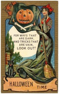 pretty-vintage-halloween-time-post-card-with-sweet-old-witch-lady-and-black-cat-with-pumpkin-flag-graphic-vintage-halloween-ca