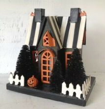 Spooky-Halloween-Putz-House-Cardboard-W-Black-Bottle-Brush