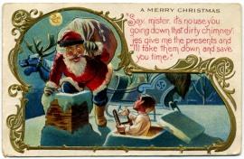 funny-vintage-christmas-postcard-kid-santa-rooftop