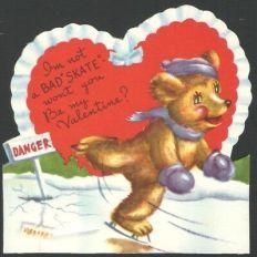 UnUsed-Americard-Valentines-Card-Thin-Ice-Ice-Skating